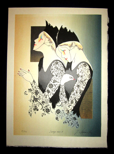 "This is a very beautiful, special and LIMITED-NUMBER (49/776) ORIGINAL Japanese woodblock print ""Imagine B"" Pencil-Signed by the famous Showa Shin Hanga woodblock print master Yoshimi Okamoto (1933-) made in 1980s IN EXCELLENT CONDITION."