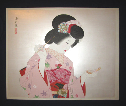 "This is a HUGE very beautiful, and special original Japanese woodblock print ""Makeup"" signed by the famous Taisho/Showa Shin Hanga woodblock print master Shinsui Ito (1898-1974) made in Showa Era (1925-1987) IN EXCELLENT CONDITION."