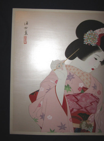 Great Huge Original Japanese Woodblock Print Ito Shinsui Bijin-ga Makeup
