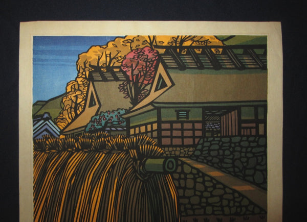 Great LARGE Orig Japanese Woodblock Print PENCIL Sign Limit# Clifton Karhu Koshihata Autumn - Kyoto