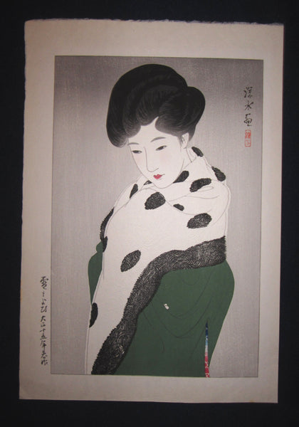 "This is a very beautiful, and special original Japanese woodblock print ""Snow"" signed by the famous Taisho/Showa Shin Hanga woodblock print master Shinsui Ito (1898-1974) made in Taisho 15 (1927)."