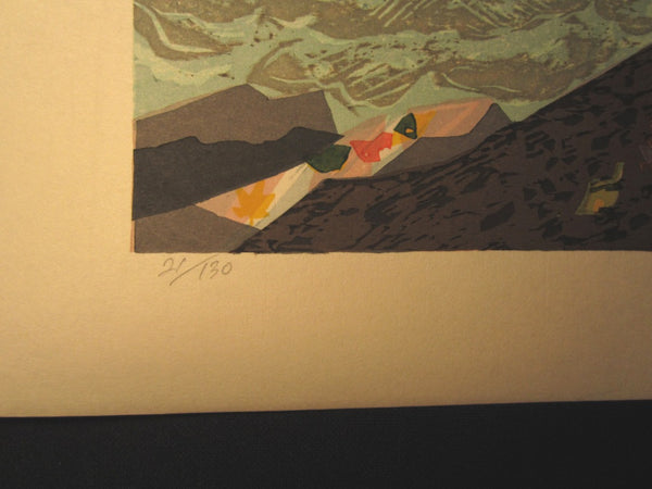 Great Huge Orig Japanese Woodblock Print Kitaoka Fumio PENCIL Sign Limit# Creek Autumn