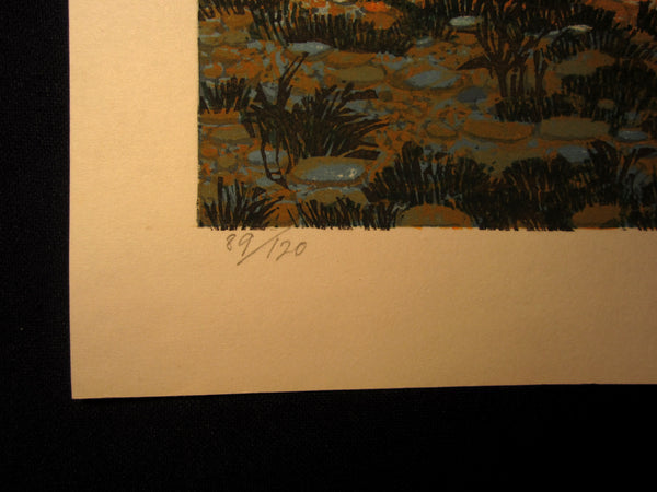 Great Huge Orig Japanese Woodblock Print Kitaoka Fumio PENCIL Sign Limit# Kintai Bridge 1979