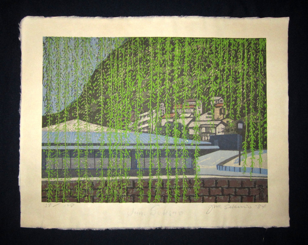 "This is a HUGE very beautiful and special LIMITED-NUMBER (38/128) ORIGINAL Japanese woodblock print ""Fukushima"" PENCIL SIGNED by the Famous Taisho/Showa Shin Hanga woodblock print master Junichiro Sekino (1914 ~1988) made in 1984 with original artist WATER MARK IN EXCELLENT CONDITION."