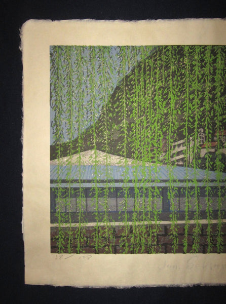 Great Huge Original Japanese Woodblock Print PENCIL Sign LIMIT Number Junichiro Sekino Fukushima