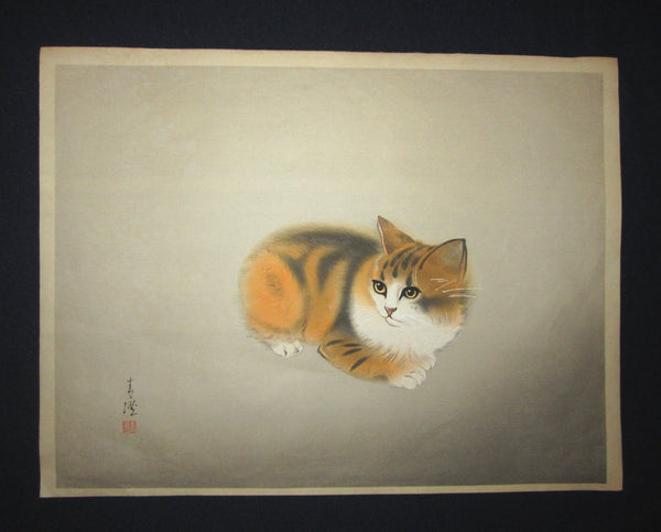 "This is a very beautiful and special original Japanese woodblock Shin Hanga print ""Kitten"" signed by the Famous Showa Shin Hanga woodblock print master Hasegawa Seicho (1916-2004) made in 1950s."