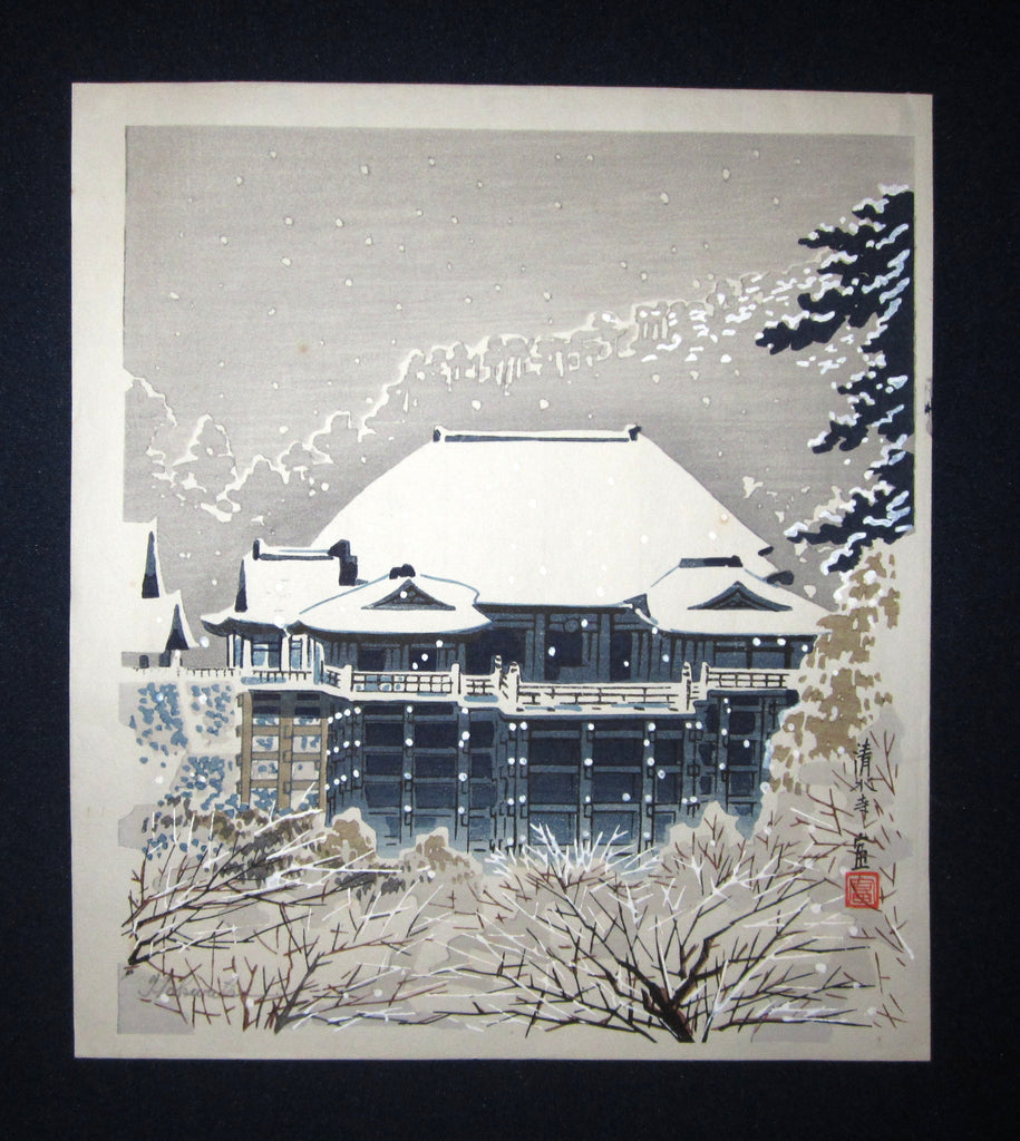 "This is a very a beautiful and special ORIGINAL Japanese woodblock print ""Kiyomitsu Temple"" signed by the famous Showa Shin Hanga woodblock print master Tomikichiro Tokuriki (1902-1999) made in 1950s."