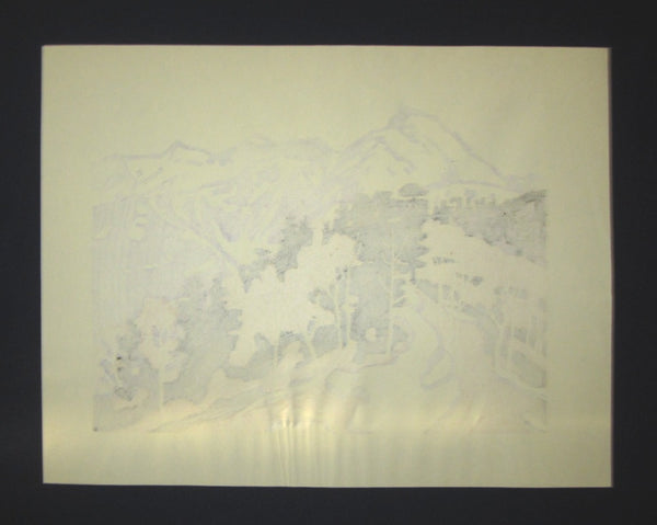 Huge Orig Japanese Woodblock Print LIMIT# Miyata Saburo Snow Mountains