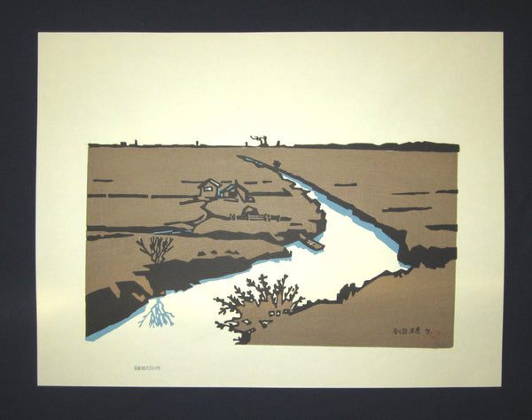 "This is a HUGE LIMITED-NUMBER original Japanese woodblock Shin Hanga print ""Kushiro Shitsugen National Park"" signed by the famous Showa Shin Hanga woodblock print artist Miyata Saburo (1924 -) made in Showa Era (1925-1987) IN EXCELLENT CONDITION."