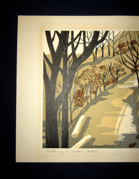 Large Original Japanese Woodblock Print Pencil-Signed Hioshi Nagai Withering in Winter 1972