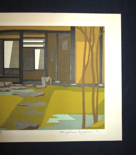 Large Original Japanese Woodblock Print Pencil-Signed Hioshi Nagai Light and Shade  1971