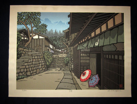 "This is a HUGE, very beautiful and special LIMITED-NUMBER (31/100) ORIGINAL Japanese Shin Hanga woodblock print ""Green Leaf  "" PENCIL SIGNED by the famous Showa Shin Hanga woodblock print master Kazuyuki Nishijima (1945-) made in 1980s IN EXCELLENT CONDITION."