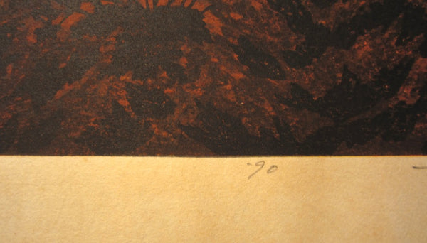 A Orig Japanese Woodblock Print Limit# PENCIL Sign Masao Ido Sunset at Ancient Temple 1990