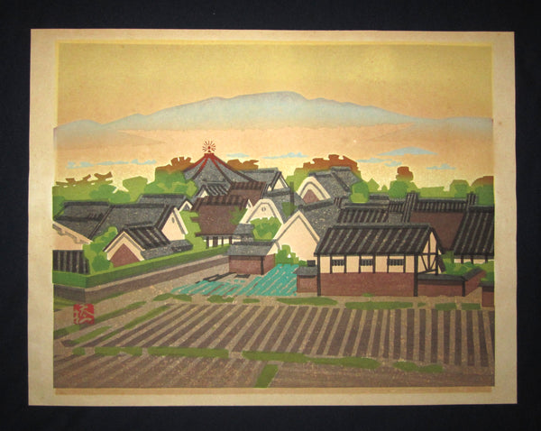 "This is a HUGE, very beautiful, special and LIMITED-NUMBER (AP edition) original Shin Hanga Japanese woodblock print ""Dream Palace"" PENCIL SIGNED  by the Famous Taisho/Showa Shin Hanga woodblock print master Hashimoto Okiie (1899-1993) made in 1973 IN EXCELLENT CONDITION."