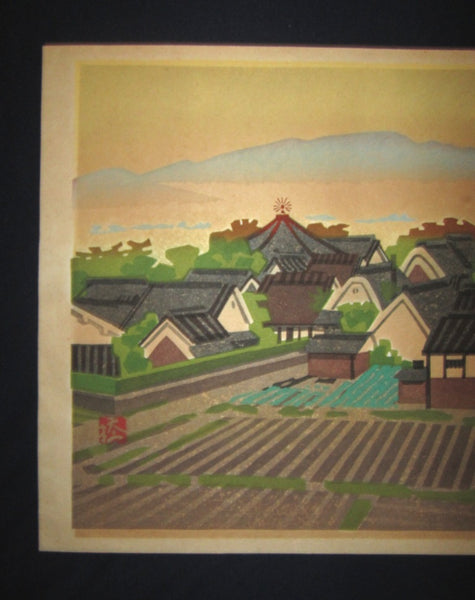 A Huge Original Japanese woodblock Print LIMIT# PENCIL Hashimoto Okiie Dream Palace