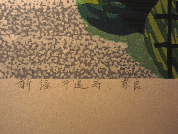 A HUGE Orig Japanese Woodblock Print LIMIT# PENCIL SIGN Hayashi Waichi Nara New Green 1982