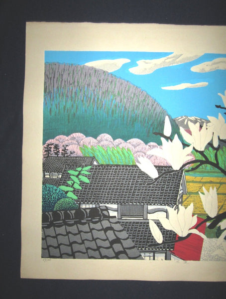 HUGE Orig Japanese Woodblock Print LIMIT# PENCIL SIGN Hayashi Waichi Lily Magnolia 1981