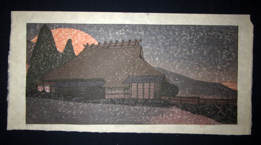 "This is an HUGE very beautiful and LIMITED NUMBER (36/80) ORIGINAL Japanese Shin Hanga woodblock print ""Harvest Moon "" PENCIL SIGNED by the famous Showa Shin Hanga woodblock master Joshua Rome (1953-) made in 1991 IN EXCELLENT CONDITION."