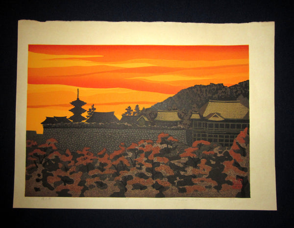 "This is an EXTRA LARGE very beautiful and rare LIMITED-EDITION (148/150) original Japanese Shin Hanga woodblock print ""Kiyomitsu Temple"" PENCIL SIGNED by the famous Showa Shin Hanga woodblock print master Masado Ido (1945-2016) made in 1980s IN EXCELLENT CONDITION."