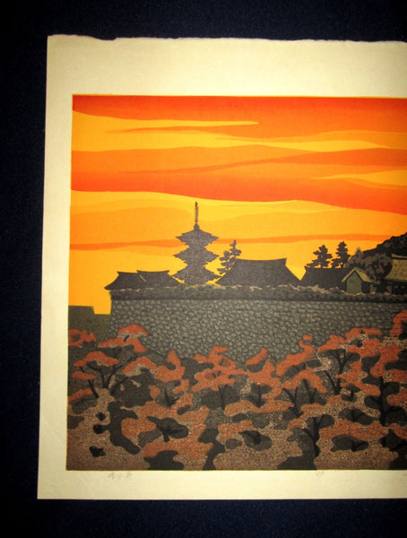 Orig Japanese Woodblock Print Limit# PENCIL Sign Masao Ido Kiyomitsu Temple 1980s