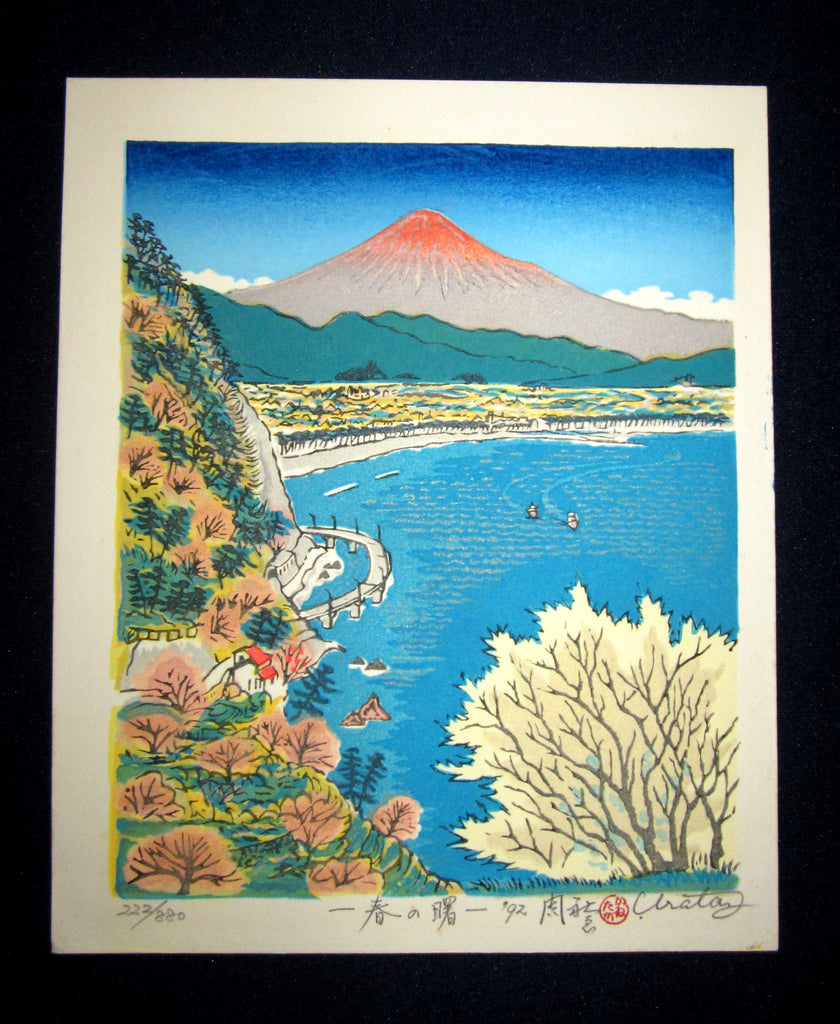 "This is a very beautiful LIMITED NUMBER (222/880) Self-Carved and Self-Printed ORIGINAL Japanese Shin Hanga woodblock print ""One Spring One Morning"" PENCIL SIGNED by the famous Showa Shin Hanga woodblock master Kanetaka Urata (1933-) made in 1992 IN EXCELLENT CONDITION."