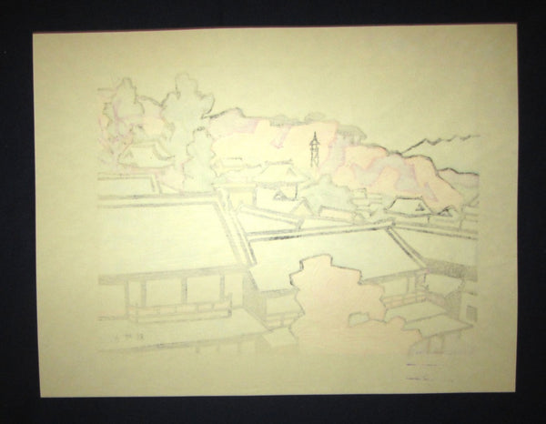 Huge Orig Japanese Woodblock Print LIMIT# Miyata Saburo Shinshu Nagano Prefecture Twenty Sceneries (4)