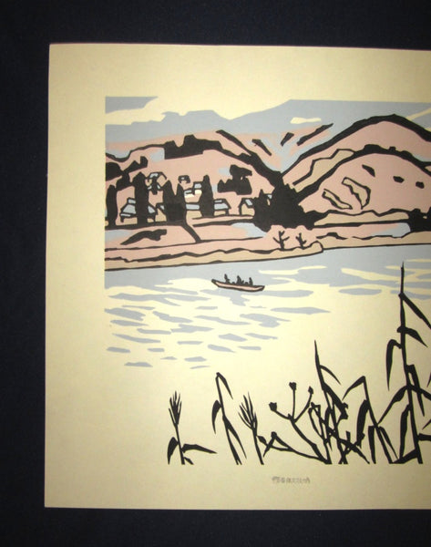 Huge Orig Japanese Woodblock Print LIMIT# Miyata Saburo Shinshu Nagano Prefecture Twenty Sceneries (10)
