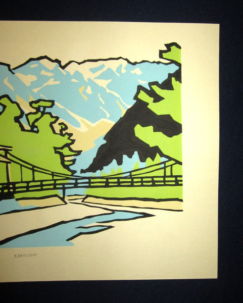Huge Orig Japanese Woodblock Print LIMIT# Miyata Saburo Shinshu Nagano Prefecture Twenty Sceneries (18)