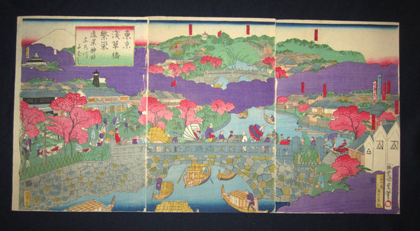 "This is a very beautiful and colorful ORIGINAL Japanese woodblock print triptych ""Tokyo Asakusa Bridge"" signed by the famous Meiji woodblock print master Kunitora Utagawa made in Meiji Era (1867-1912) IN EXCELLENT CONDITION."