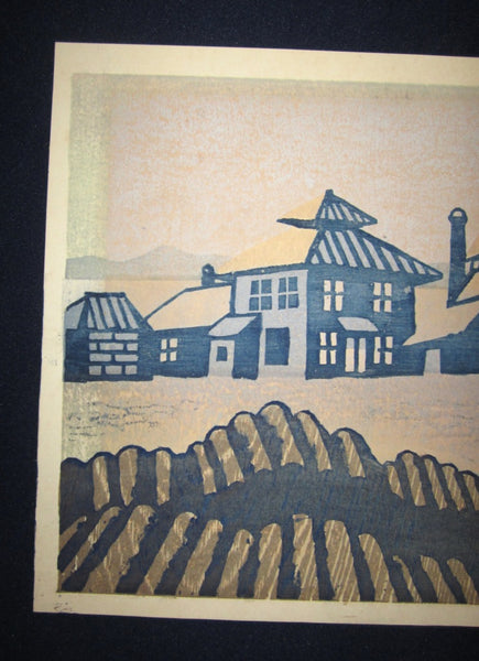A Great Orig Japanese Woodblock Print Yasu Kato LIMIT# PENCIL SIGN Harbor 1963