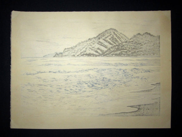 A Large Orig Japanese Woodblock Print LIMIT# PENCIL Imai Takehisa Itagahama Bay
