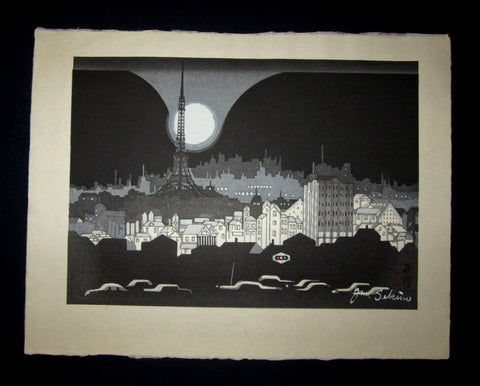 "This is a HUGE very beautiful and special original Japanese woodblock print ""Moon at Shinagawa"" signed by the Famous Taisho/Showa Shin Hanga woodblock print artist Junichiro Sekino (1914 ~1988) made in 1980s IN EXCELLENT CONDITION."