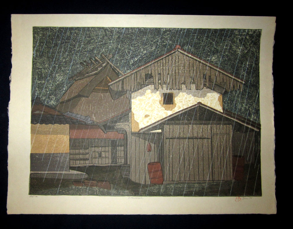 "This is an HUGE very beautiful and LIMITED NUMBER (85/100) ORIGINAL Japanese Shin Hanga woodblock print ""Kiteuneame Rain "" PENCIL SIGNED by the famous Showa Shin Hanga woodblock master Joshua Rome (1953-) made in 1985 IN EXCELLENT CONDITION."