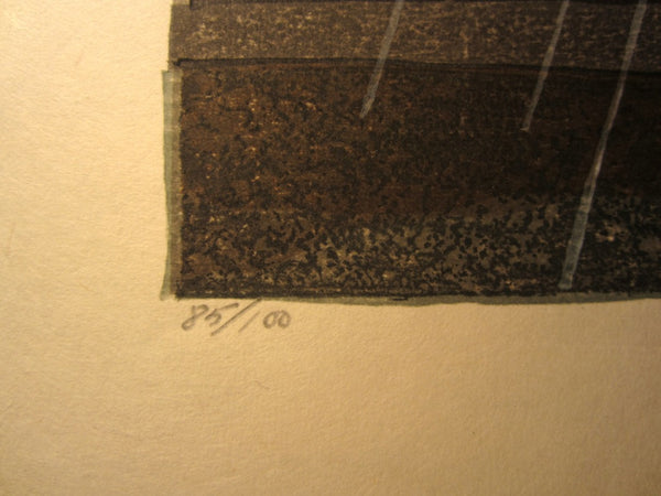 A Huge Orig Japanese Woodblock Print PENCIL Sign Limit# Joshua Rome Kiteuneame Rain 1985