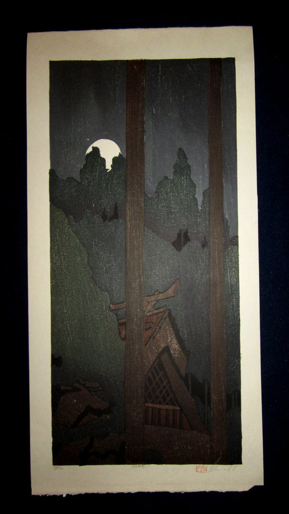 "This is an HUGE very beautiful and LIMITED NUMBER (34/100) ORIGINAL Japanese Shin Hanga woodblock print ""Yoroka , Moon"" PENCIL SIGNED by the famous Showa Shin Hanga woodblock master Joshua Rome (1953-) made in 1988 IN EXCELLENT CONDITION."