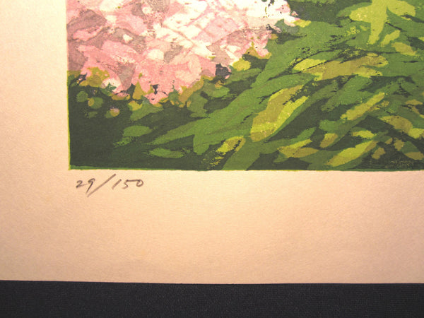 Original Japanese Woodblock Print Shin Hanga Pencil-Signed Limited-Number Fujita Fumio Spring Castle 1983