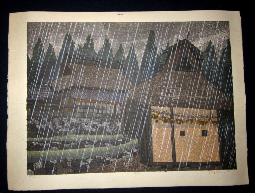 "This is an HUGE very beautiful and LIMITED NUMBER (49/100) ORIGINAL Japanese Shin Hanga woodblock print ""Tsuya Rain "" PENCIL SIGNED by the famous Showa Shin Hanga woodblock master Joshua Rome (1953-) made in 1986 IN EXCELLENT CONDITION."