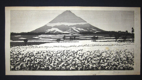 "This is an EXTRA LARGE very beautiful and special original Japanese woodblock print ""Mt. Fuji"" PENCIL SIGNED by the famous Showa Shin Hanga woodblock print master Okuyama Jihachiro (1907-1981) made in 1950S."