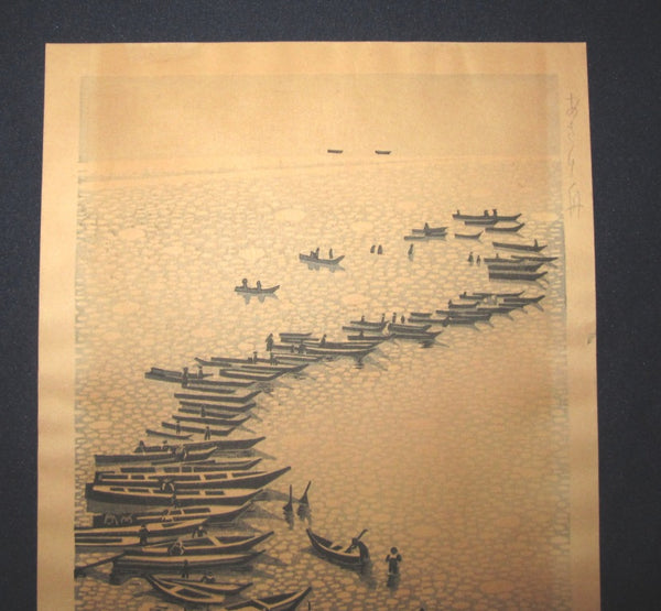A Large Original Japanese Woodblock Print PENCIL sign Okuyama Jihachiro Boats (2)