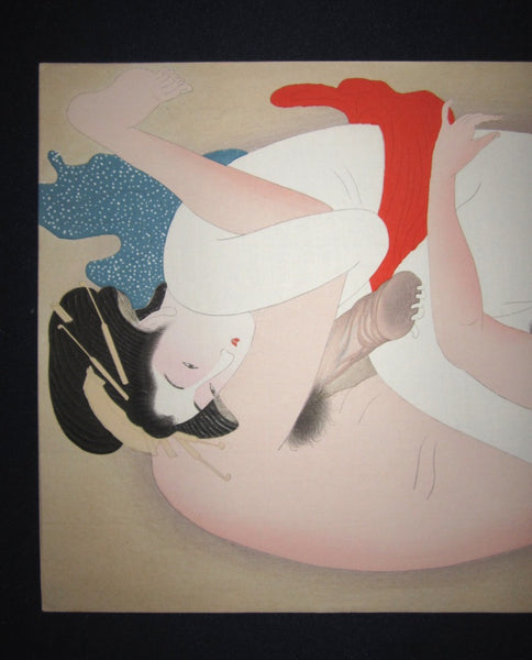 A Original Japanese Woodblock Print Erotic Shunga Taisho Era (22)