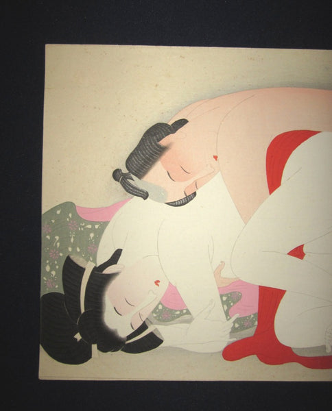 A Original Japanese Woodblock Print Erotic Shunga Taisho Era (24)