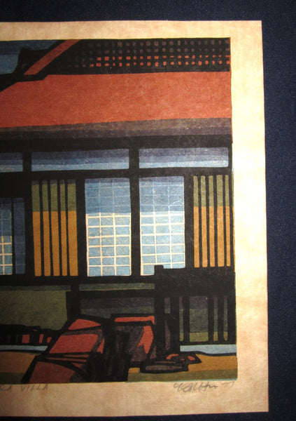 An Orig Japanese Woodblock Print PENCIL Sign Limit# Clifton Karhu Katsura Villa 1977