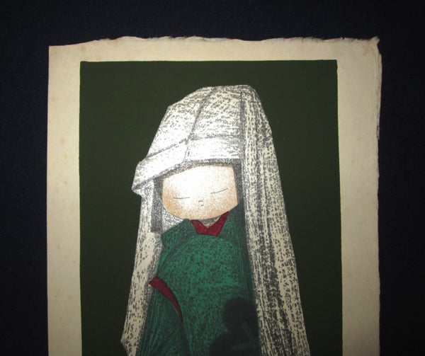 A Original Japanese Woodblock Print Kaoru Kawano Child with Hood