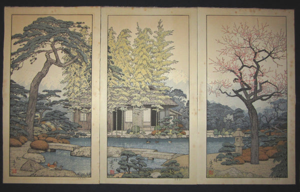 "This is a HUGE very beautiful and special ORIGINAL Japanese woodblock print triptych ""Pine, Bamboo, and Plum"" signed by the famous Shin-Hanga woodblock print master Toshi Yoshida (1911-1995) made in 1980s."