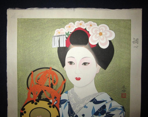 Huge Original Japanese Woodblock Print LIMIT# Brush Signature Kato Shinmei Maiko Water Mark Takamizawa Printmaker