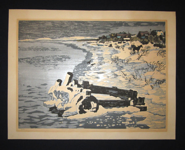 "This is a HUGE very beautiful LIMITED NUMBER (73/100) ORIGINAL Japanese Shin Hanga woodblock print ""Frozen River"" PENCIL SIGNED by the famous Showa Shin Hanga woodblock master Kitaoka Fumio (1918-) made in 1971 IN EXCELLENT CONDITION."