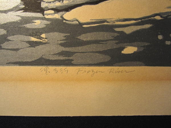 A Huge Orig Japanese Woodblock Print Kitaoka Fumio PENCIL Sign Limit# Frozen River