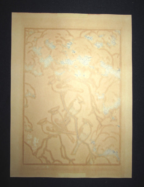 A Great Orig Japanese Woodblock Print Toshi Yoshida (1) ORIGINAL AUTHENTICATION CERTIFICATE Bird