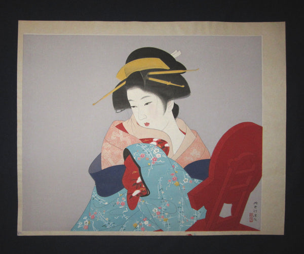 "This is a HUGE very beautiful, and special original Japanese woodblock print ""Snow"" signed by the famous Taisho/Showa Shin Hanga woodblock print master Shinsui Ito (1898-1974) made in Showa Era (1925~1987) IN EXCELLENT CONDITION."