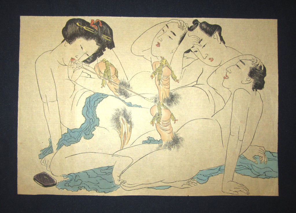 "original Japanese Erotic woodblock print Shunga ""Firework"""